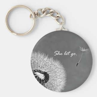 Inspirational She Let Go Quote with Dandelion Keychain