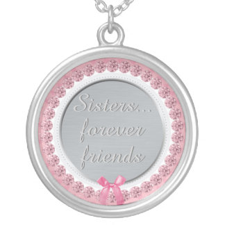 Inspirational Sisters Quote Forever Friends Pink Silver Plated Necklace