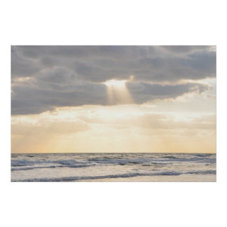Inspirational Sun Rays Parting Clouds Poster