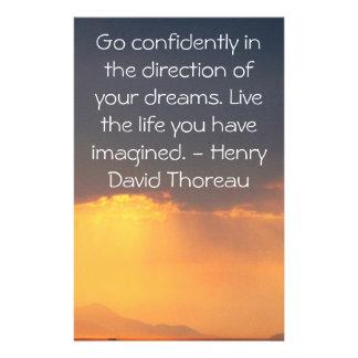 Inspirational Thoreau Quote Stationery