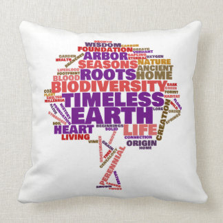 Inspirational Tree of Life Tag Cloud Throw Pillow