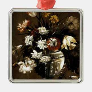Inspirational  Vintage Floral Gifts Silver-Colored Square Ornament