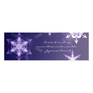 Inspirational winter snowflake bookmark with quote business cards