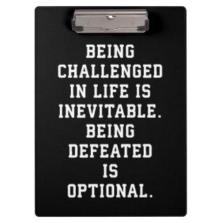 Inspirational Words - Challenge vs Defeat Clipboard