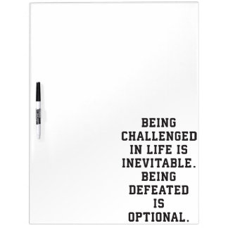 Inspirational Words - Challenge vs Defeat Dry Erase Board