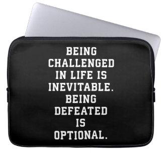 Inspirational Words - Challenge vs Defeat Laptop Sleeve