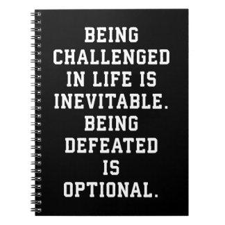 Inspirational Words - Challenge vs Defeat Notebook