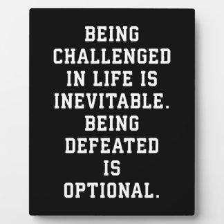 Inspirational Words - Challenge vs Defeat Plaque