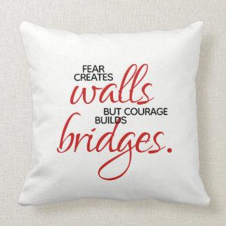 Inspirational Words Courage Builds Bridges Throw Pillow