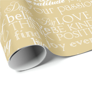 Inspirational Words Gold White Wrapping Paper