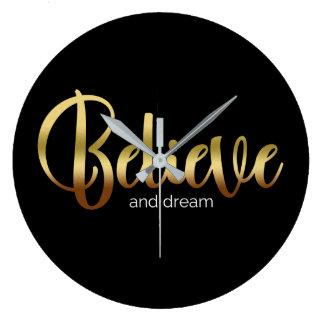 Inspirational Words Golden Believe and Dream Wallclocks