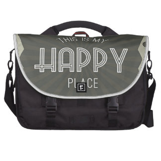 Inspirational Words Happy Place Bags For Laptop
