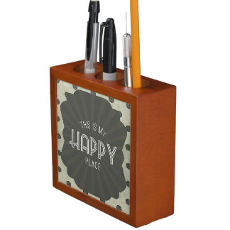 Inspirational Words Happy Place Desk Organizers