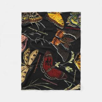 Inspirational Words on Colorful Butterflies Fleece Blanket