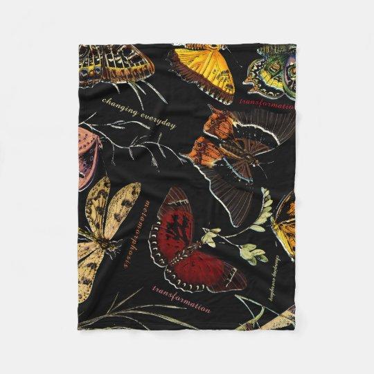 Inspirational Words on Colourful Butterflies Fleece Blanket