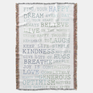 Inspirational Words Throw Blanket