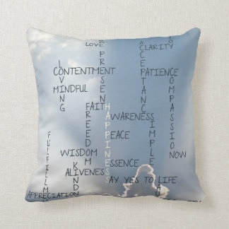 Inspirational Words to Live by for Happiness Throw Pillow