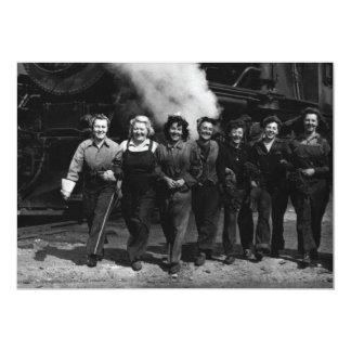 "Inspirational World War I Women Railroad Workers 5"" X 7"" Invitation Card"