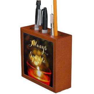 Inspirational zen candle always sparkle pencil hol desk organizer