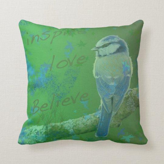 Inspire Love Believe Bird Throw Pillow