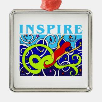 Inspire Mermaid Silver-Colored Square Ornament
