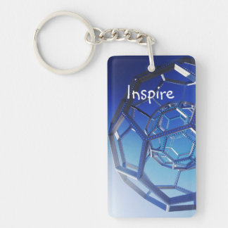 Inspire Motivational Quote Circles Photograph Double-Sided Rectangular Acrylic Keychain
