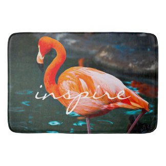 """Inspire"" Quote Cute Orange Pink Flamingo Photo Bath Mat"