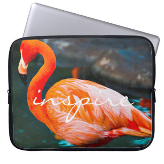 """Inspire"" Quote Cute Orange Pink Flamingo Photo Laptop Sleeve"