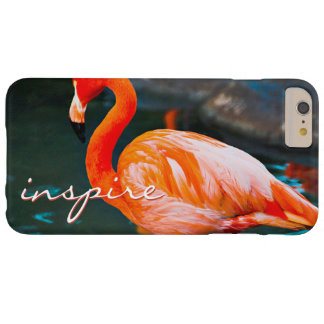 """Inspire"" Quote Cute, Pink Orange Flamingo Photo Barely There iPhone 6 Plus Case"