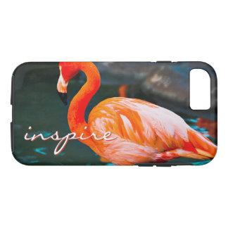 """""""Inspire"""" Quote Cute, Pink Orange Flamingo Photo iPhone 8/7 Case"""