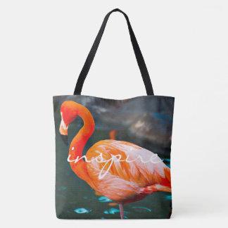 Inspire quote orange pink flamingo photo tote bag