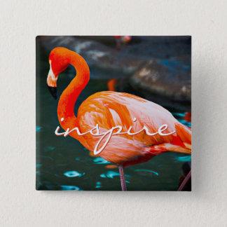 """""""Inspire"""" quote pretty orange pink flamingo photo 2 Inch Square Button"""