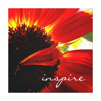 """Inspire"" Quote Red Orange Daisy Close-up Photo Canvas Print"