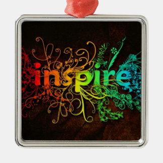 Inspire Silver-Colored Square Ornament