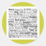 Inspire word art collage round sticker