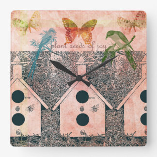Inspired Birds with Bird Houses Square Wall Clock