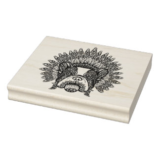 Inspired French Bulldog In War Bonnet Rubber Stamp