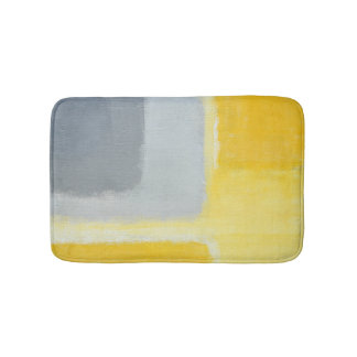 'Inspired' Grey and Yellow Abstract Art Bath Mat