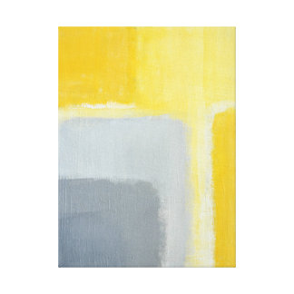 'Inspired' Grey and Yellow Abstract Art Canvas Print