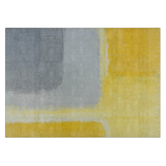 'Inspired' Grey and Yellow Abstract Art Cutting Board