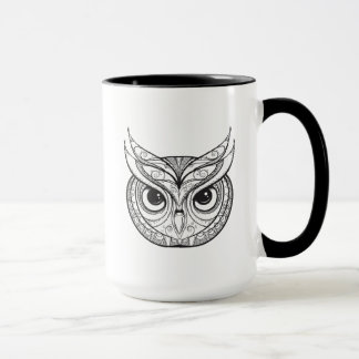Inspired Owl With Tribal Ornaments Mug