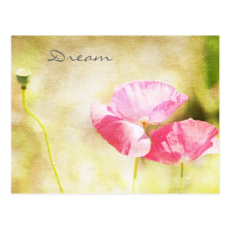 Inspired Pink Poppies Postcard
