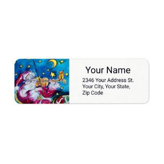 INSPIRED SANTA PLAYING VIOLIN Christmas Night Return Address Label