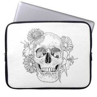 Inspired Skull And Flowers Laptop Sleeve