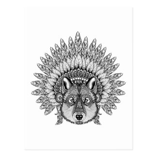 Inspired Wolf In Feathered War Bonnet Postcard