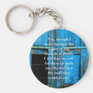 inspiring bible scripture Psalm 23:4 Basic Round Button Keychain