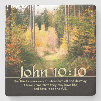 Inspiring Bible Verse John 10 10 Autumn Path Stone Coaster