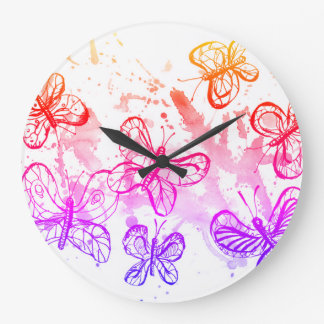 Inspiring butterflies large clock