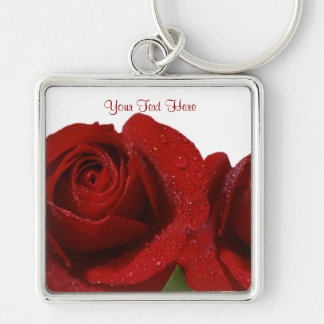 Inspiring Dew Covered Dark Red Rose Design Silver-Colored Square Keychain