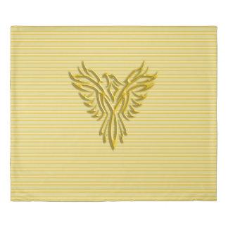 Inspiring golden phoenix on gold stripes duvet cover